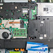 Underside of a laptop after teardown. Visible parts
