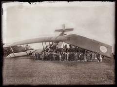 An emergency landing of a Farman F.60 Bn2 night bomber with lots of villagers posing in front (Glass plate 1 from 5) [France, 1920 - 1925] (Kees Kort Collection) Tags: 1925 biplane accident bomber glassplate farman nightbomber f60