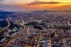 Aerial view of  New Taipei City (Jennifer 真泥佛 * Taiwan) Tags: 空拍 新店溪 華中橋 夕陽 sunset dji m2p 500m 新北市 newtaipeicity taiwan mountain
