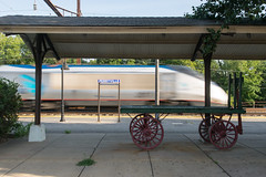 19-5786 (George Hamlin) Tags: maryland perryville railroad passenger train speed blur station platform canopy baggage cart trees sky amtrak acela atk 2165 southbound power car sign photodecor george hamlin photography