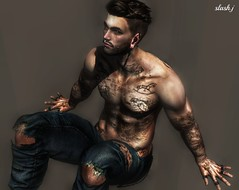 Come and Talk to me ♥♥ (slash marciano) Tags: pose svp menjail secondlife second life tattoo tag men me mesh meshhead earrings beard belleza rings ripped pant fashion feel alone blog design event man