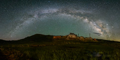Late June Milky Way Arch Over Bodie (Jeff Sullivan (www.JeffSullivanPhotography.com)) Tags: milky way arch panorama bodie state historic park bodiestatehistoricpark abandoned american wild west mining ghost town monocounty bridgeport california usa astrophotography landscape nature night astronomy photography travel nikon 850d nikkor 1424mmf28 lens photo copyright 2019 jeffsullivan june allrightsreserved skyglow lightpollution