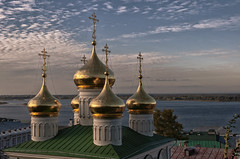 Domes (Lyutik966) Tags: dome cross religion orthodoxyarchitecture roof sky cloud russia nizhnynovgorod river volga cityscape