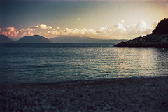 (Just A Stray Cat) Tags: kodak pro image proimage 100 lefkada greece ionian sea island islands aegean sunset dusk mountain waves wavy clouds sky 35mm 35 mm film analog analogue olympus mju ii stylus epic