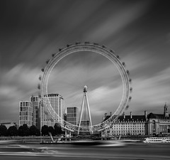 London Eye. (Ian Emerson (Thanks for all the comments and faves) Tags: longexposure london londoneye tourism thames boats sightseeing outdoor cityscape blackwhite canon6d hoya hoyafilters skyscrapers