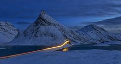 Blue Hour, Fredvang, Lofoten, Norway (MelvinNicholsonPhotography) Tags: lofoten norway winter bluehour dusk fredvang longexposure traillights snow mountains volanstinden canoneosr benrogd3wh benrotma48cxl kasefilters