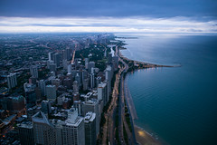 Chicago: Early Morning (romanboed) Tags: leica m 240 summicron 28 asph usa chicago summer city cityscape aerial lake michigan coast skyscrapers dawn morning clouds