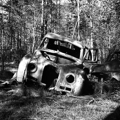 carcemetery026 (salparadise666) Tags: car cemetery near ryd rolleiflex sl 66 planar 80mm fomapan 100 boxspeed caffenol cl nils volkmer sweden landscape nature detail forest wood bw black white monochrome analogue medium format 6x6 square