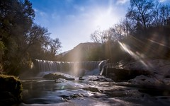 Magic Rays (S83b) (Darblanc ( http://darblanc.com )) Tags: canoneos7d mountains hills countryside nature river winter colour stackedimages sunset daytime landscape cascade waterfall reflection longexposure france massifcentral hérault visriver saintlaurentleminier occitanie