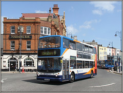 Stagecoach 18169, Ramsgate (Jason 87030) Tags: doubledecker southeast eastkent harbour ramsgate town kent uk england dennis trident alx400 canterbury 9 bell blue red orange white 18169 sunny light august 2019 weather mariner ancient transport traffic scene british britain