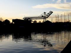 Wharf (-hndrk-) Tags: sand wharf transfer shipyard water netherlands crane leiderdorp ouderijn steelconstruction canons100 pebblestone concretematerial hndrk eveningsky
