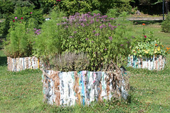 Planters made of plastic bags--way to recycle (cloolis101) Tags: 119picturesin2019 artinthepark elmpark