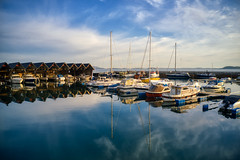 Local harbor... (thebarka) Tags: dji norway reflections boats harbor norge aerial pro sailboats boathouse aerialphotography mavic drones drone ryfylke mavic2pro photos unlimited