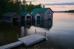Boathouses on West Grand Lake (Adam Woodworth) Tags: boathouse dock grandlakestream lake maine newengland sunset westgrandlake