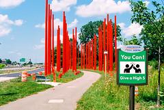 891100-R1-005-1 (elsuperbob) Tags: southfield michigan suburbs suburbia emptyspaces placemaking redpolepark biketrail northwesternhighway urbandesign red powerpoles detroit canona1 kodak proimage100 kodakproimage100