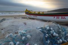 Fishing (mara.arantes) Tags: sea water sand beach boat seacoast sky sunrise fish praia sun netting waves brasil