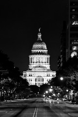Texas Capitol at Night (joncutrer) Tags: austin austintexas texas travel tourism capitol texascapitol texasstatecapitol atx government building night streets street monochrome bw noir a7iii ilce7m3
