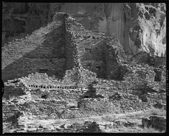 Pueblo Bonito Ruins Early Morning Light Chaco Canyon (the_ward) Tags: blackandwhite bw largeformat film analog kodak trix ruins architecture historicallandmark world heritage site nativeamerican ancient old shadow