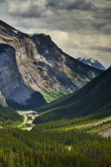 Take the scenic road (Valley Imagery) Tags: icefield parkway canada jasper banff road national park ice snow trees green river valley clouds sony a99ii 70400gii tourist lookout trip