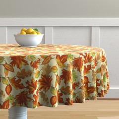 Autumn leaves (emikundesigns) Tags: tablecloth fall autumn orange dry yellow