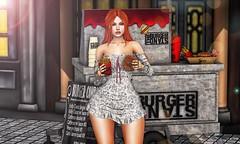 ♚ #741 ♚ (Caity Saint) Tags: crystalstore mangula uber event backdrop hamburger food burger fries runaway redhead catwa maitreya sl bento secondlife pixels avatar doll