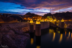 Hoover Dam Twilight (Explore) (Daren Grilley) Tags: hydroelectric water dam blue hour dusk civil engineering las vegas nevada arizona colorado river lake mead canyon bridge nikon d850 20mm astronomical twilight usbr reclamation