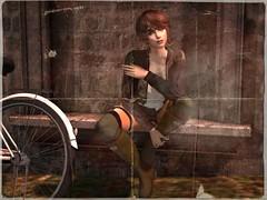 in Flux (Tympany) Tags: theowlposes fluxsurmer catwa catya rkkn wellies bike france antiqued agedphoto gartersocks barberyumyum deetalez bento secondlife avatar