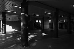 Street (lightersideofdark) Tags: blackwhite stairs shadows urban streetphotography dark pillars lights outside outdoors