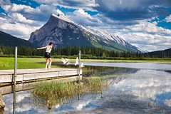 Fly (John Andersen (JPAndersen images)) Tags: alberta banff canon clouds day mountrundle park reflections seagulls sky tamron vermillionlake