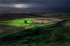 This Green and Sometimes Dark Land (Julian Barker) Tags: higger tor south yorkshire peak district dark moorland light drama dramatic showering stormy green shining through landscape england uk great britain europe canon 5d mkii julian barker