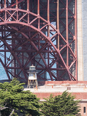 Fort Point lighthouse under the Golden Gate Bridge (Teelicht) Tags: brücke california goldengatebridge kalifornien nordamerika northamerica sanfrancisco usa unitedstatesofamerica vereinigtestaaten bridge fortpoint lighthouse leuchtturm