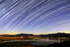 Perseids, Iridium Flares, and Star Trails Over Lake Henshaw (slworking2) Tags: lakehenshaw sandiego california startrails starstax perseid perseids meteors perseidmeteorshower night long exposure