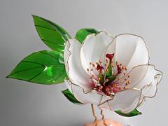 white peony (vasilevanastyus) Tags: white flowers peony handmade freen leaves kanzashi resin epoxy pandastudioshop etsy 2018