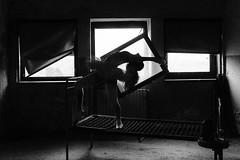 Ogni giorno si deve ballare, anche se solo nel pensiero. (michelina cipro) Tags: abbandonato desolazione ballerina tristezza blackandwhite finestre windows luce light room abandoned hospital bed danza