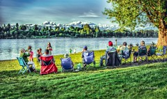 Watching the River Run (Christie : Colour & Light Collection) Tags: family people chilling relaxing enjoying happy scenic peaceful parkland fraserriver river hdr britishcolumbia bc canada outdoors outside water texture highdef chairs linedup row grass hats leisuretime walnutgrove langley townshipoflangley riverbank nikkor nikon christiebytheriver flickrphotographer flickr photography foldupchairs metrovancouver mapleridge haney porthaney fraservalley pacificnorthwest artistic summertime familytime clouds trees sitting