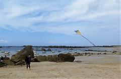 Cerf-volant sur la plage de Meneham (Sokleine) Tags: cerfvolant kite plage beach rocks rochers sable sabd seaside sea mer manche channel clouds nuages 1thème 1mois meneham 29 finistère finistèrenord bretagne brittany france landscape paysage