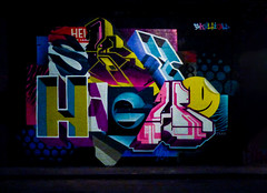 Sky High (Steve Taylor (Photography)) Tags: skyhigh smileyface sun sticker aaron hellomynameis roo graffiti streetart tag mural colourful contrast design graphic uk gb england greatbritain unitedkingdom london tunnel leakestreet