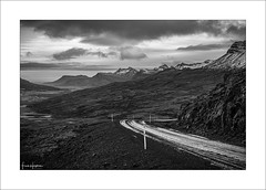 The World Below XXXV (Frank Hoogeboom) Tags: iceland ijsland breiddalsheidi landscape mono monochrome blackandwhite blackwhite fineart mountains hills heather scandinavia vista scenic epic moody gloomy road snow ice winter depth valley gorge highlands mountainpass nature outdoors