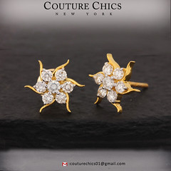 Natural Diamond Pave Starburst Design Stud Earrings Solid 14k Yellow Gold Handmade Jewelry (couturechics.facebook1) Tags: natural diamond pave starburst design stud earrings solid 14k yellow gold handmade jewelry