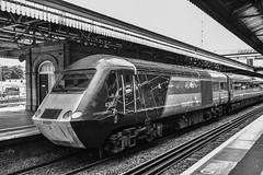 43357+384, Exeter St. David's (JH Stokes) Tags: crosscountrytrains hst highspeedtrain class43 43357 trains trainspotting tracks transport railways locomotives photography publictransport exeterstdavids decon devon monochrome blackwhite