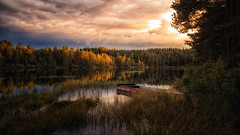 """""""Autumn"""" (bjorns_photography) Tags: autumn outdoor sunset boat reflection forest lake view photography colors old"""