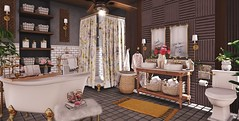 Good morning beautiful! (Alexa Maravilla/Spunknbrains) Tags: dustbunny trompeloeil hive loftaria secondlife sl home bathroom interiors indoors gold tub shower vanity commode blog blogger 3dmesh virtual rug towels decor decoration digitalphotography
