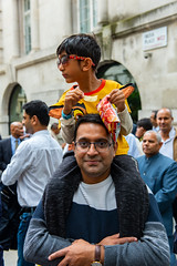 At the demo (jeremyhughes) Tags: london people father son fatherandson child boy politics demonstration piggyback shades street outdoor summer parenthood parenting kashmir india proud eating crisps nikon d810 nikkor 2470mm f28g 2470mmf28g pose posing