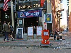 BostonNeedinPatriotsCountry (fotosqrrl) Tags: boston massachusetts streetphotography urban unionstreet scottalley bar womaninneed signs trafficdrum
