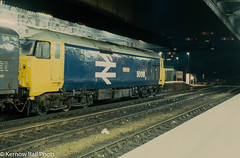 Exeter Memories (Kernow Rail Phots) Tags: 50018 resolution class50 largelogo 50 exeter semaphore signals exeterstdavids 1800 paddington penzance friday 18th february 1983 1821983 1980s train trains guv railway railways railroad tracks station night timeexposure devon uk br britishrail passengertrain atmospheric lights