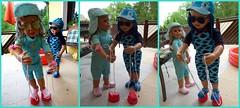 Meine Akrobaten ! ;-) /  My acrobats ! ;-) (ursula.valtiner) Tags: puppe doll luis bärbel künstlerpuppe masterpiecedoll balancieren balance topfstelzen potstilts sommer summer spielen playing