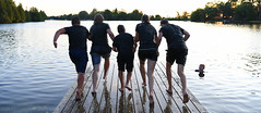 Let's Do It One More Time! (Anthony Mark Images) Tags: trentcanal ontario canada fairhavens summercamp summerfun fun dockwater running action staff reflections drippingwet sunset people portrait brock barefoot shorts tshirts guys girl wet flickrclickx nikon d850