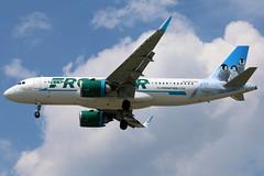 N344FR FRONTIER A320-251N SL at KCLE (GeorgeM757) Tags: n344fr ededwineandeddiethepenguins airbus neo a320251nsl kcle georgem757 aviation landing canon70d frontier