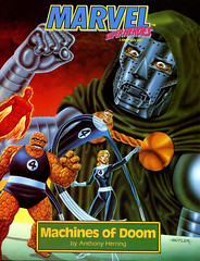 Machines of Doom by Anthony Herring, 1992, cover by Jeff Butler (gameraboy) Tags: machinesofdoom anthonyherring 1992 cover jeffbutler 1990s vintage art illustration marvel comics fantasticfour doctordoom drdoom painting thething johnnystorm suestorm mrfantastic