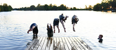 Geronimo! (Anthony Mark Images) Tags: diving jumping water dock sunset summercamp fun summerfun staff trentcanal ontario canada watching action airborne people portrait nikon d850 flickrclickx barefoot shorts tshirts wet